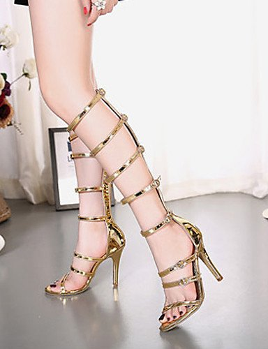 LFNLYX Zapatos de mujer-Tacón Stiletto-Tacones / Plataforma / Punta Abierta-Sandalias-Vestido / Fiesta y Noche-Semicuero-Oro golden