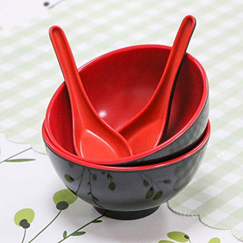 WSSROGY Set of 2 Red and Black Melamine Soup Bowls and Spoons China Melamine Tableware Set for Noodles Pho Rice and Menudo,4.5''