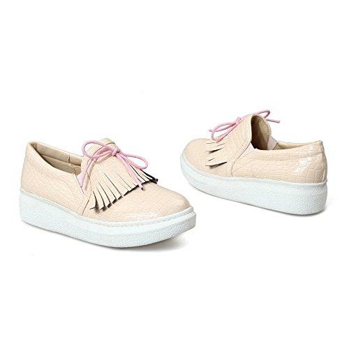 AllhqFashion Damen Ziehen auf PU Leder Rund Zehe Niedriger Absatz Rein Pumps Schuhe Aprikosen Farbe