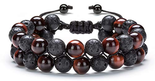 Hamoery 8mm Tiger Eye Stone Bead Anxiety Bracelet for Men Women Double Braided Rope Essential Oil Diffuser Bracelet(Lava Red Tige)