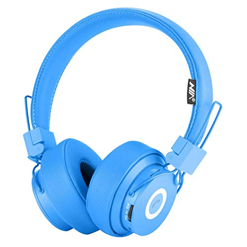 Bluetooth Headphones Over Ear, Hi-Fi Stereo Foldable On-Ear Headset with Microphone, APP to Control Headphones, Soft Earmuffs Support SD Card FM Radio Wired and Wireless Headset for Kids Adults, Blue