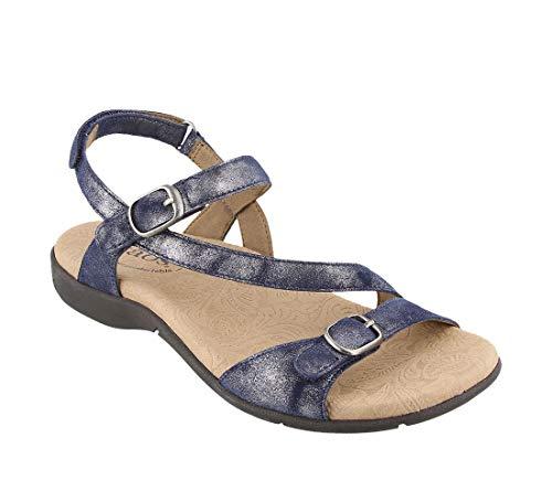 (Taos Footwear Women's Beauty 2 Navy Metallic Sandal 7 M US)