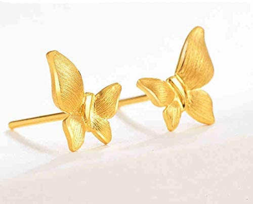 Amody Womens 18K Yellow Gold Earrings Butterfly Gold Women Earrings for Valentines Day