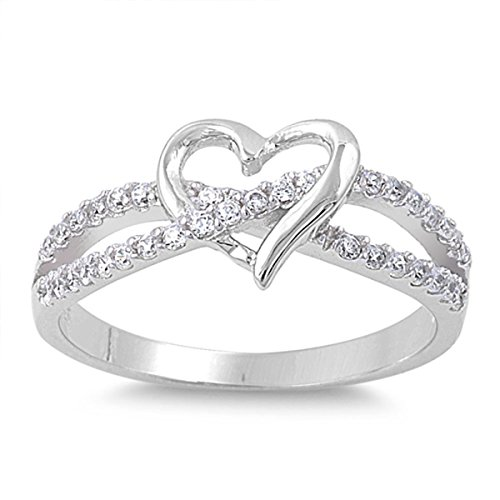 Heart Promise Ring - Sterling Silver Women's Flawless Colorless Cubic Zirconia Infinity Knot Wedding Promise Heart Ring (Sizes 3-12) (Ring Size 7)