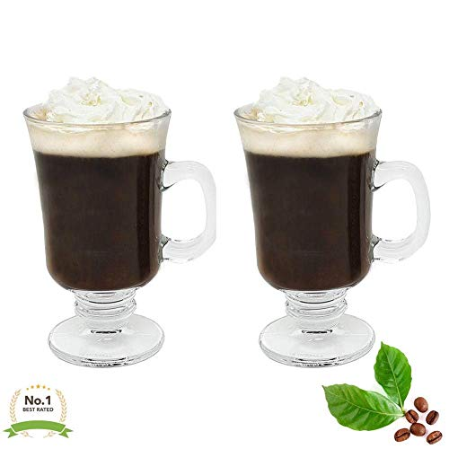Irish Coffee Glass Mugs Footed Regal Shape 8 oz.Set of 2 Thick Wall Glass Cappuccinos, Mulled Ciders, Hot Chocolates, Ice cream and - Set Glass Irish Coffee