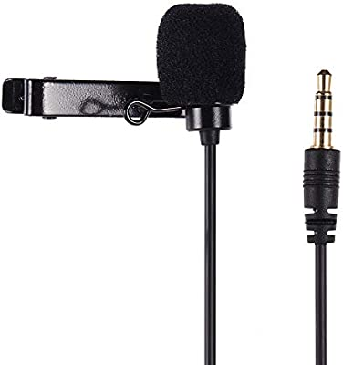 Andoer Clip-on Lavalier Omin-Directional Condenser Microphone Audio//Video Recording Microphone for iPhone Huawei Smartphone for Canon Nikon Sony DSLR Camera Camcorder for Audio Recorder PC