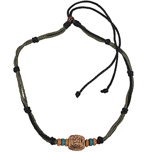 (JESSE · RENA Men's Jewelry Hemp Beach Choker Pendant Surfer Necklace Accessories (Green/Black))
