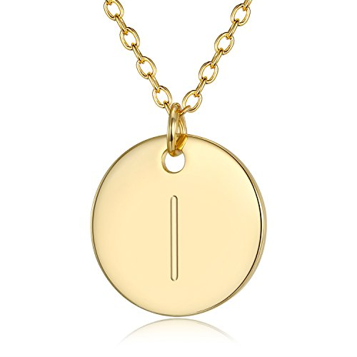 - 3UMeter Adjustable Initial Disc Pendant Necklace - Combined with Personalized I lphabet M Electroplate 18K Gold Necklace for Women and Girls,Wedding Mother's Day and Birthday Gift