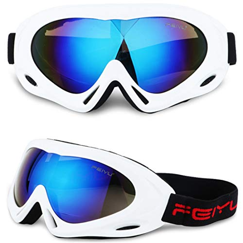 Anti-Fog Motorcycle Goggles - Windproof Snowboard Goggles Mask, Protective Padding Helmet Sunglasses for Skiing, Riding, Winter Outdoor Activities (C)