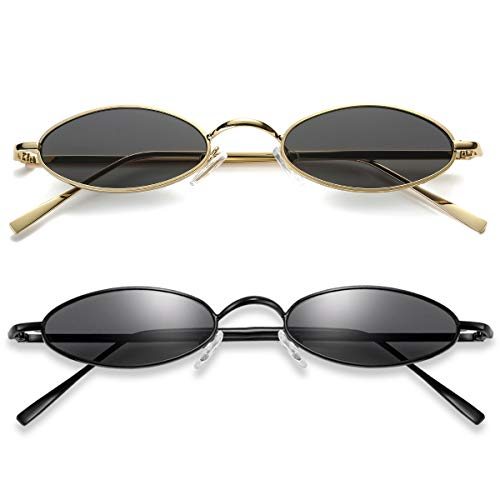 Vintage Oval Sunglasses For Women - Feirdio Small Metal Frame Candy Color 2265 (balck/black+Gold-grey, 2.05)