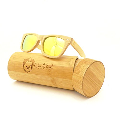 Bamboo Wood Sunglasses, WOODCHUCK Mirror Polarized Lens - Live Life Sunglasses Outside
