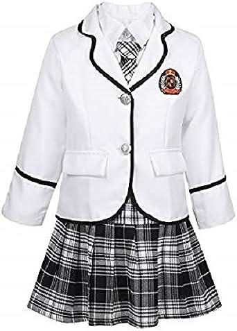 CHICTRY - Uniforme Escolar para niña Japonesa, Disfraz de Estudiante, Chaqueta de Manga Larga/Camisa Blanca/Falda de pie/Corbata Completa para Escuela Cosplay School Girl Bianco 7-8 Años: Amazon.es: Ropa y accesorios