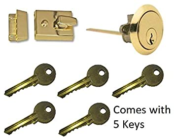 Yale Style Dead Locking 40mm Night Latch High Quality Front Door Lock Rim Cylinder Assisted Nightlatch for External Doors Powder Coated Black Complete with Rim Cylinder and 3 Keys