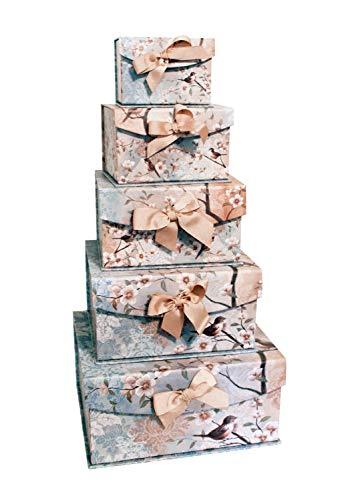 (Greenbrier International Bird Floral Nesting Boxes Set of 5 Decorative Storage Gift Box Organizer Bins with Lid for Keepsake Toys Photos Memories Closet Bathroom Office Bedroom Decoration)