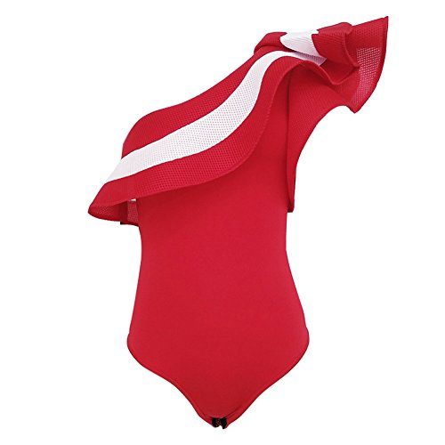 f6227e6b6cda Juleya Femme Sexy One Shoulder Ruffle Striped Maillot Corps Clubwear Short  Rompers  Amazon.fr  Vêtements et accessoires