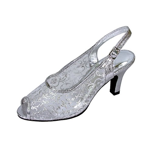 FLORAL Ashley Women Extra Wide Width Open Toe Mesh Slingback SILVER (Ladies Wide Dress Shoes)