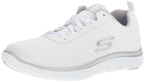 Skechers Sport Women's Flex Appeal 2.0 Break Free Fashion Sneaker, White/Silver, 7.5 M US 12757