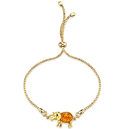 - Peora Baltic Amber Gold-Tone Sterling Silver Elephant Bolo Adjustable Bracelet