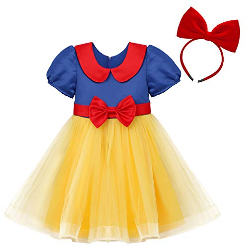 IBTOM CASTLE Princess Snow White Costume for Girls Dress Up Fancy Halloween Party Kids Long Birthday Evening Dance Gown w/Headband Clothes # Red Yellow 3-4 -