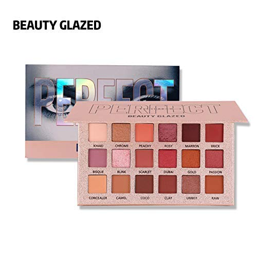 BEAUTY GLAZED 18 Colors Pearlescent + Matte Eye Shadow Makeup Palette Silky Powder Professional Make up Palette Long Lasting Shimmer Glitter Pigment Easy to Wear Eyeshadow Palette