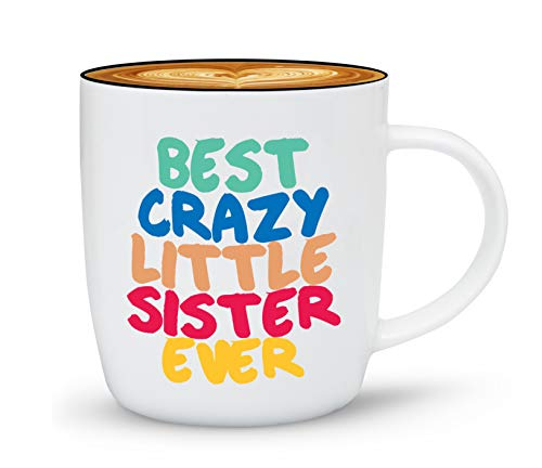 Gifffted The Best Crazy Little Sister Ever Coffee Mug, Funny Gifts From Sister or Brother, Birthday Sisters Day Gift Ideas To My Worlds Greatest Sister, Love Sister Present Mugs For Christmas, Cup