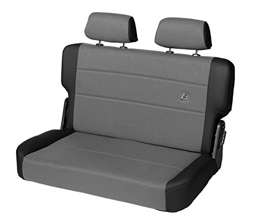Bestop 39441-15 TrailMax II Fold and Tumble Black Denim Vinyl with Fabric Insert Rear Bench Seat for 1955-1995 CJ5, CJ7 and Wrangler YJ