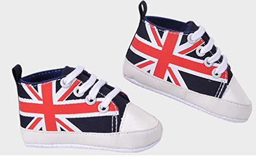 Happy Cherry - Chaussures premier pas Chaussures basket Mode mixte bébé fille garçon - imprimé le drapeau Britannique - 20 EU