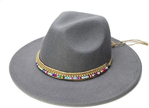 e7ea84e07a BEIXI Wool Fedora Hat Hawkins Felt Cap Extensive Brim Ladies Trilby Chapeu  Feminino Hat Women Men Jazz Church Godfather Sombrero Caps (Color : Gray,  ...