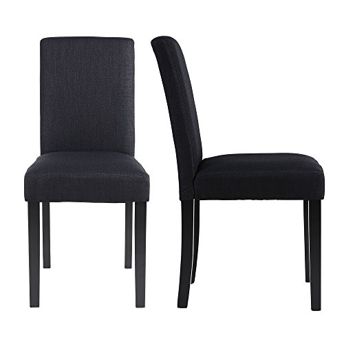 LSSBOUGHT Set of 2 Classic Fabric Dining Chairs Dining Room Chair with Solid Wood Legs, Black by LSSBOUGHT