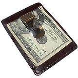 Genuine Leather Brown Metal Money Clip Credit Card Slot
