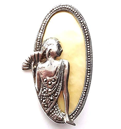 Cameo Lady PIN Mother-of-Pearl Creme Stone Brooch Marcasite .925 Sterling Silver ВК-8 ()