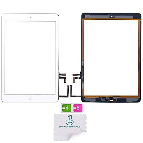 - OmniRepairs Glass Touch Screen Digitizer Assembly Replacement with Home Button, Rubber Gasket and Camera Bracket Compatible for iPad Air 1st Generation with Pre-installed Adhesive Tape (White)