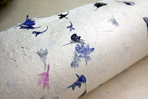 Real Petals Pink and Blue Handmade Gift Wrapping Paper 3 Pack
