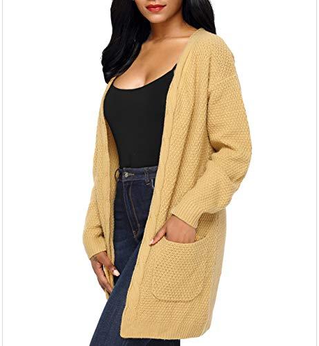 Maille Gilets Pullover Mi Jeune Sweater Outwear Tops Manteau Simple Femmes Kaki en Mode Vestes Longues Pull Hiver Chandail Casual Automne Hauts Manches Fashion Cardigan Tricots Longue Coat qwvz8Rx6