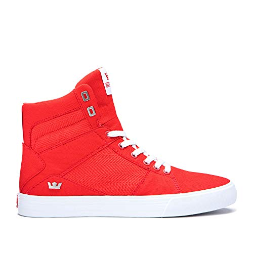 Supra Aluminum High Top Lace Up Sneaker Shoes, Risk Red-White, Size 10