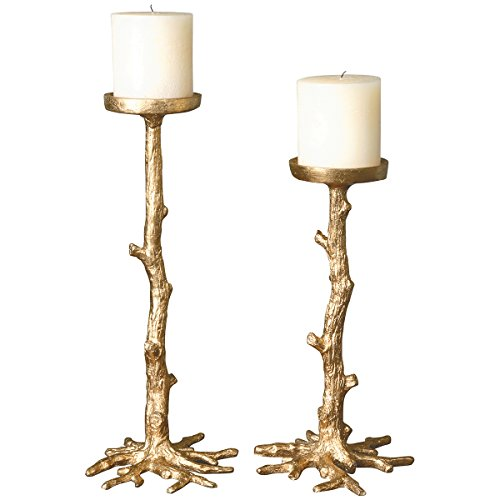 Uttermost 19886 Maple Candleholders (Set of 2), Gold