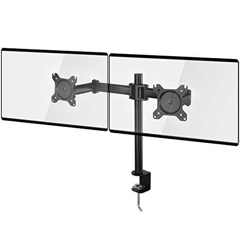 """SONGMICS Monitor Arm Stand Dual Desk Monitor Monut Fits 13"""" to 27"""" VESA Screens LCD LED Fully Adjustable Heavy Duty Black UOMA02BK - Plastic Dual Stand"""