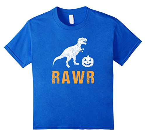 Kids T Rex Dinosaur Halloween Shirt Costume for Kids Boys Girls 4 Royal Blue