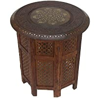 Handcarved Octagonal Hardwood Table 18 Diameter