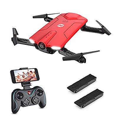 Holy Stone HS160 Drone with Camera, RC Quadcopter Foldable Drone with WiFi FPV 720p Camera Live Video for Beginners & Kids - Altitude Hold, One Key Start, APP Control and Portable Carrying Case, Red by Holy Stone