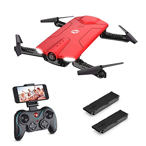 Holy Stone HS160 Drone with Camera, RC Quadcopter Foldable Drone with WiFi FPV 720p Camera Live Video for Beginners & Kids - Altitude Hold, One Key Start, APP Control and Portable Carrying Case, Red