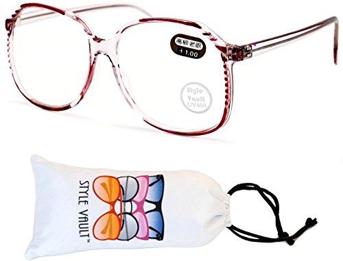 E3060-VP Style Vault Oversized Reading Glasses (B2852F +1.00 Clear/Pink-Clear, - Glasses Reading Oversized Mens