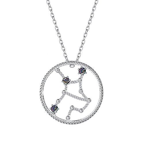 SILVERCUTE Horoscope Constellation Jewelry Birthday Gift 925 Sterling Silver Topaz Zirconia Zodiac Sign Pendant Necklace Virgo (8.24 ~ 9.23)