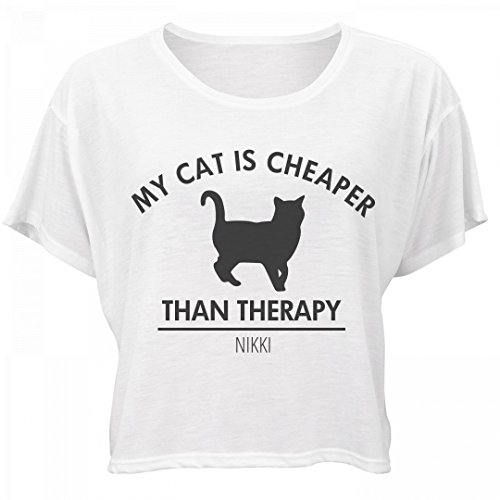 Cat Is Cheaper Than Therapy Nikki: Bella Women's Flowy Boxy Tee (Nikki Bella Outfit)