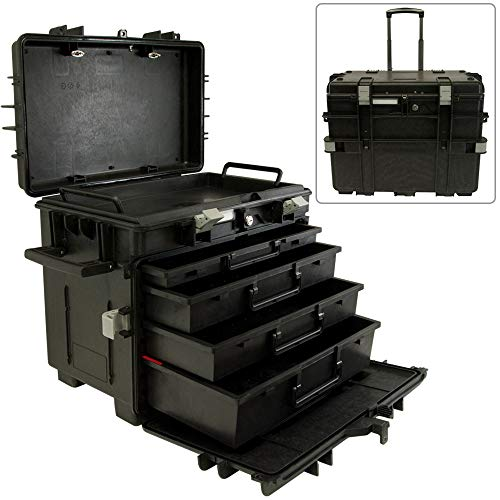 Mobile Tool Chest With 4 Drawers, Stackable, Lockable, Resistant to Impact and Harsh Weather