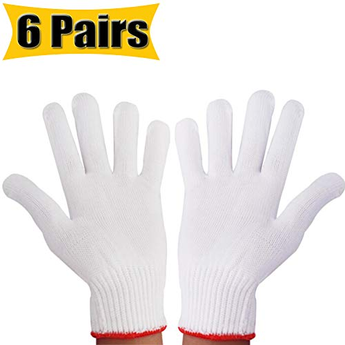 Hand Working Gloves Safety Grip Protection Work Gloves Men Women BBQ Thicker Industry Knitted Cut Repair Gloves Durable String Knit Light Weight for Work Safety Thick Cotton (6 Pairs)