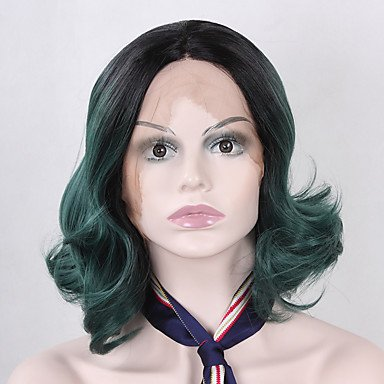 TY Natural Short Bobo Wave Hair Ombre Green Glueless Realistic Synthetic Lace Front Wigs for Women Heat Resistant Half Hand Tied Fiber Hair On Sale , 14 -