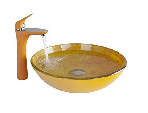GOWE Orange Bathroom Sink Washbasin Ceramics Hand-Painted +Basin Brass Faucet Lavatory Combine Set Faucet,Mixer Tap 0