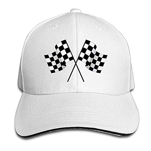 xmnoonef Checkered Flags Race Car Flag Pole Adjustable Sandwich Peaked Baseball Hat