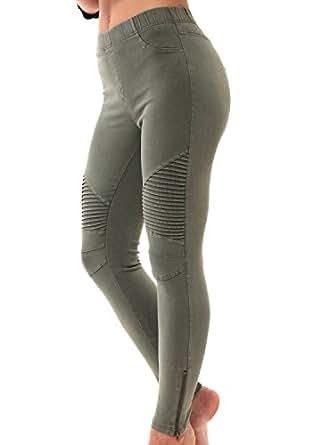 LAINAB Women Sexy Pleated Ankle Zipper Leggings Joggers Moto Pants Olive L